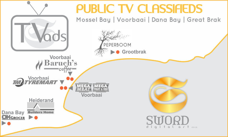 Map of TV Points in Mossel Bay, Dana Bay and Groot Brak.   SWORD Digital Art, Mossel Bay